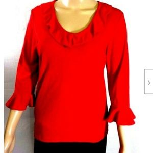 Apostrophe Top Tunic Red Bell Sleeves Scoop Ruffle